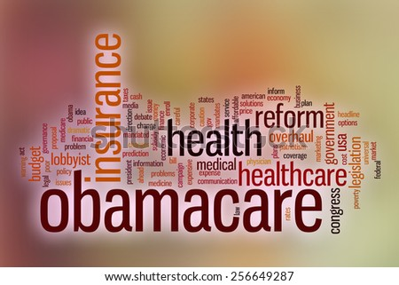 Obamacare word cloud concept with abstract background - stock photo