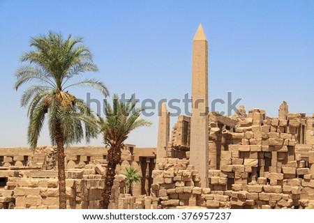 Obelisk at the Temple of Karnak, Luxor, Egypt - stock photo