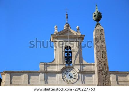 Obelisk of Montecitorio and Italian parliament on Piazza di Montecitorio in Rome, Italy - stock photo