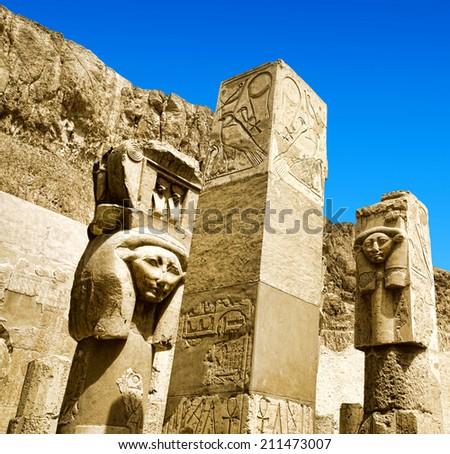 Obelisk of Queen Hapshetsut in Karnak, Egypt - stock photo