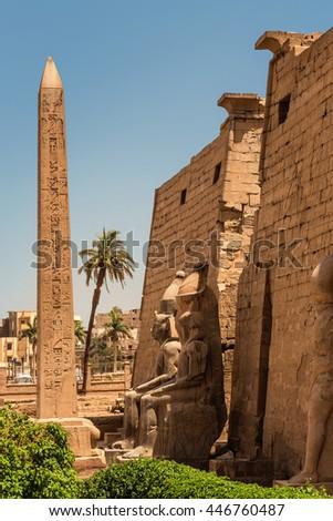 Obelisk Ramses Egypt. Obelisk in front of the temple of Karnak, Egypt, Luxor - stock photo