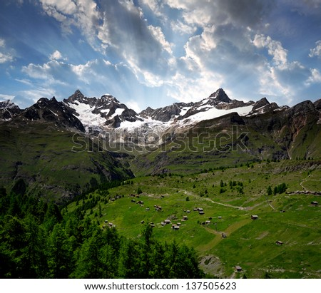 Ober Gabelhorn and Zinalrothorn in the sunset - Swiss alps - stock photo