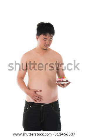 obese fat asian male with beer belly - stock photo