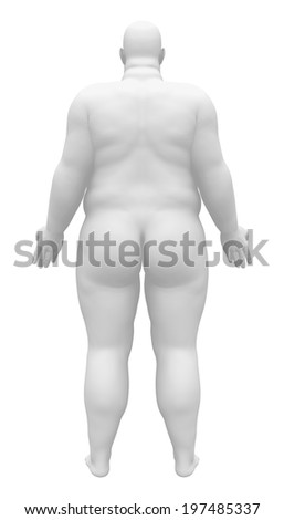 Obese Male Figure - Back view - stock photo