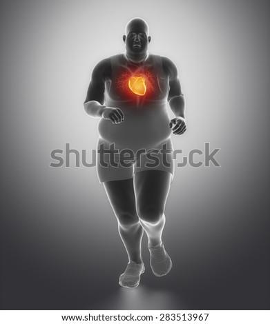 Obese man heart problem - stock photo