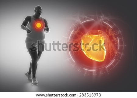Obesity and sport and heart - stock photo