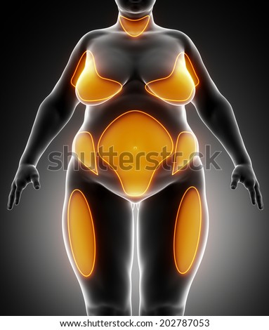 Obesity concept in black - stock photo