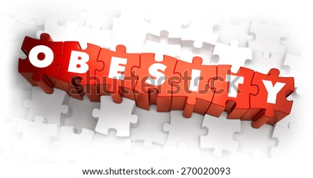 Obesity - White Word on Red Puzzles on White Background. 3D Render.  - stock photo