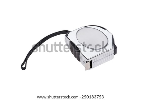 object isolated on white - metal tape measure - stock photo