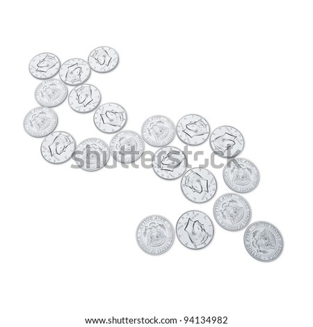 object on white - America Half Dollar coins close up - stock photo