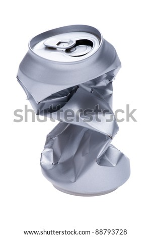 object on white - Crumpled beverage can - stock photo