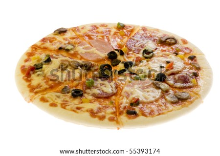 object on white - food pizza close up - stock photo