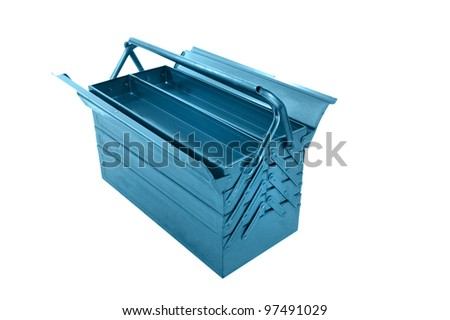 object on white - metal tool box - stock photo