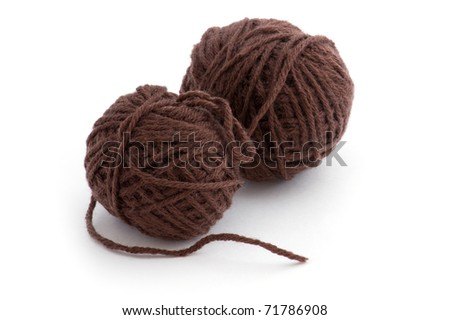 object on white - sewing Yarn close up - stock photo