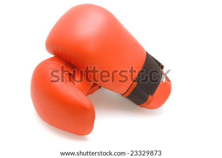 object on white - sport clothes  boxing glove - stock photo