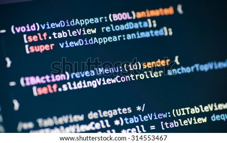Objective C code lines - stock photo