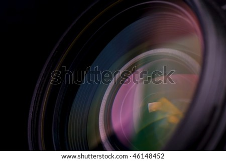 objective with lense reflections. Shot in studio. - stock photo