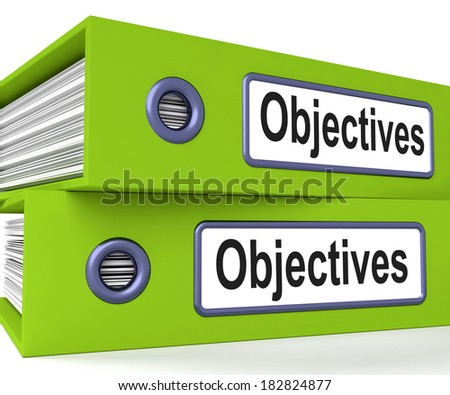 Objectives Folders Meaning Business Goals And Targets - stock photo