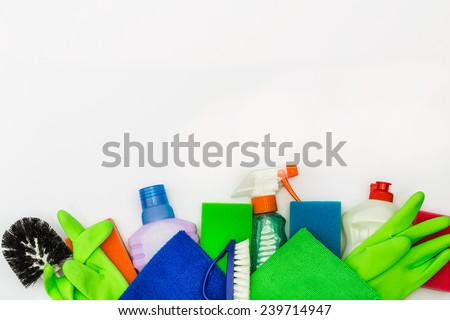 Objects and detergents for harvesting - stock photo