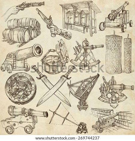 OBJECTS - Collection (no.4) of an hand drawn illustrations. Description - Full sized hand drawn illustrations, freehand sketches, drawing on old paper. - stock photo