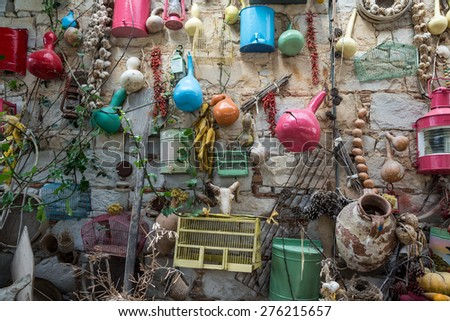 objects hanged on wall - stock photo