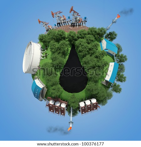 Objects of oil production and processing on a small planet. 3d rendering - stock photo