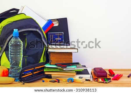 Objects of school bags - stock photo