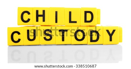 Objects regarding child-custody and divorce concept, isolated on white - stock photo