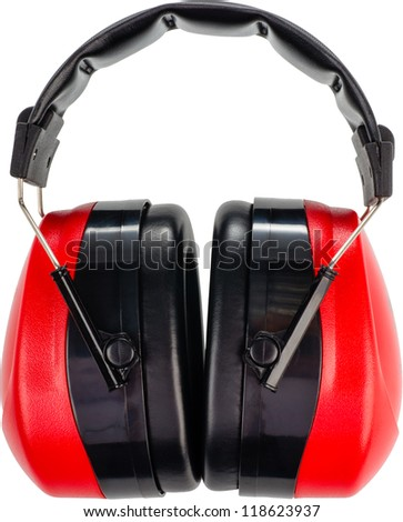 objects to protect from deafness on a white background - stock photo