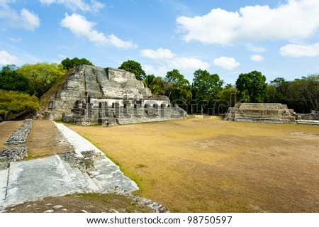 Oblique view of the Altun Ha Mayan Temple in Belize - stock photo