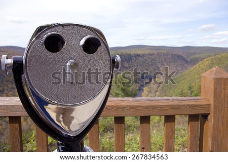 Observation binoculars at Grand Canyon of Pennsylvania, USA - stock photo