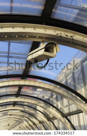 observation camera in public - stock photo