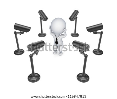 Observation cameras around 3d small person.Isolated on white background. - stock photo