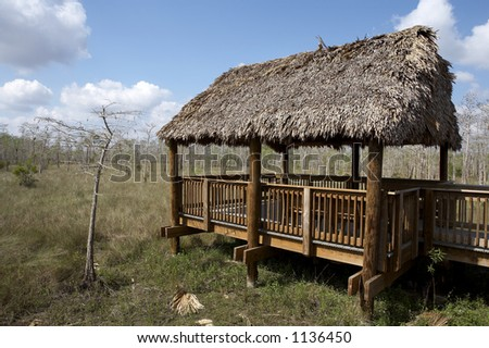 observation hut and platform at the Kirby storter roadside park big cypress national preserve, florida, united states, usa, taken in march 2006, The first National Preserve in the National Park System - stock photo