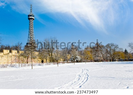Observation tower (1891, free copy of the Eiffel Tower, 300 meters high) on Petrin hill, Prague, Czech republic - stock photo