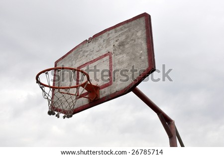 Obsolete basketball hoop, sports background. - stock photo