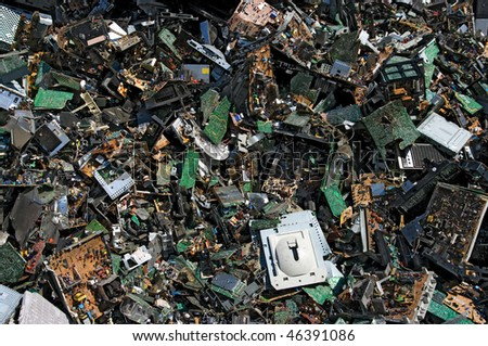 Obsolete circuit boards for recycling - stock photo