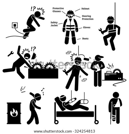 Occupational Safety and Health Worker Accident Hazard Pictogram - stock photo