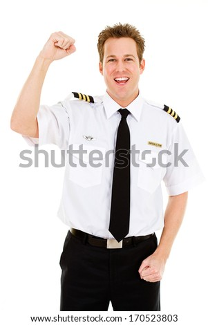 Occupations: Pilot Excited and Cheering - stock photo