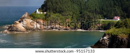 Ocean and coastal landscapes Oregon Lighthouse - stock photo