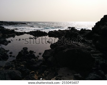 Ocean and stones.Tenerife, Canary Island