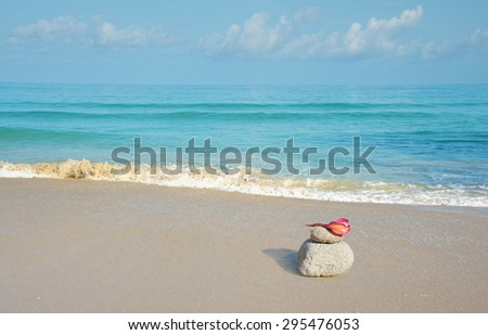 ocean beach background with pink flower lying on stone - stock photo