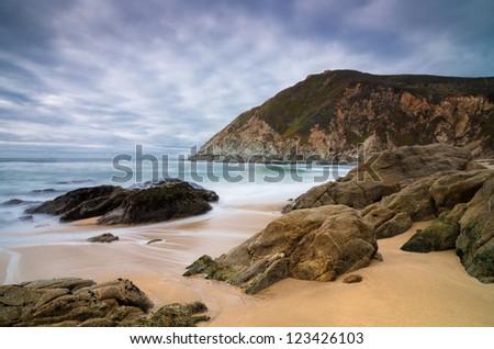 Ocean beach - California, long exp. - stock photo