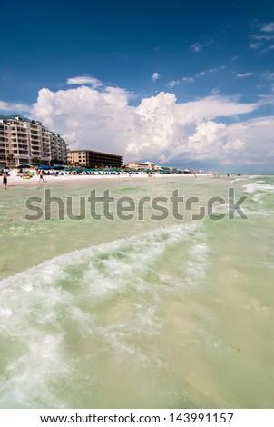 ocean beach scenes at destin florida on a sunny day - stock photo