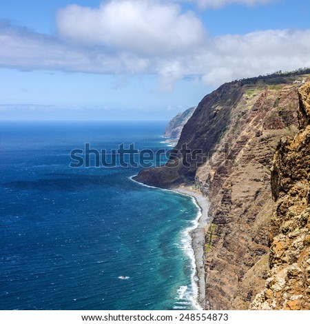 Ocean beach view, Madeira Island, Portugal - stock photo