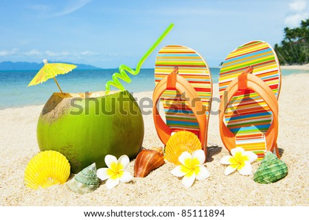 Ocean Beach with exotic coctail - stock photo