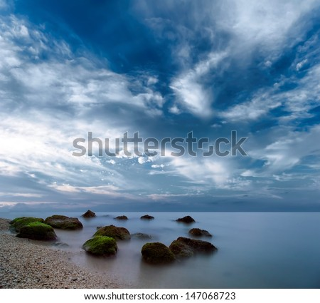 Ocean beautiful morning sunrise landscape - stock photo