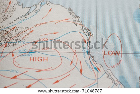 Ocean chart showing high and low barometric pressure zones - stock photo