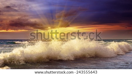 Ocean coast and a fantastic sunset - stock photo