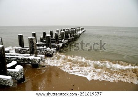 Ocean from Brighton Beach on January 2015, New York City, USA . - stock photo